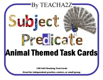 Subject / Predicate Task Cards and Game Boards-All Animal