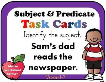 Subject Predicate 2nd Grade