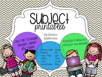 Subject Printables