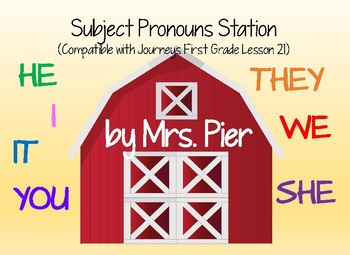 Subject Pronouns Station (Compatible with Journeys First G