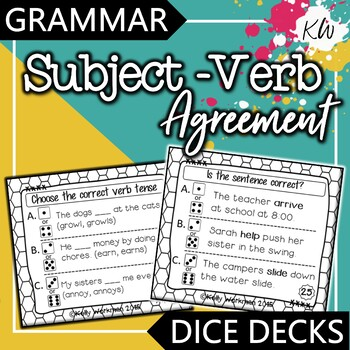 Subject Verb Agreement Interactive Task Cards - Grammar
