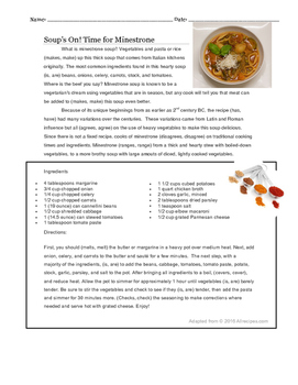 Subject Verb Agreement Activity in Context of Cooking Soup