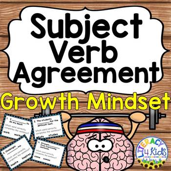Subject Verb Agreement Growth Mindset Themed Print and Go
