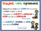 Subject Verb Agreement Posters for Kindergarten to Grade O