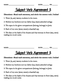 Subject Verb Agreement Quiz 2