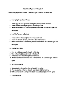 Subject/Verb Agreement Study Guide