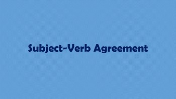 Subject-Verb Agreement: Subject Activity Cards