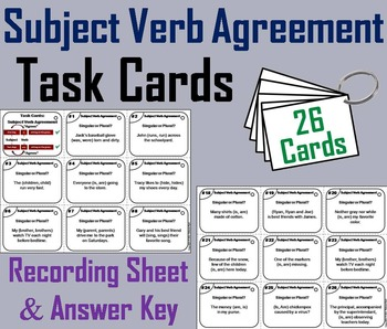 Subject Verb Agreement Task Cards/ Subject Verb Agreement