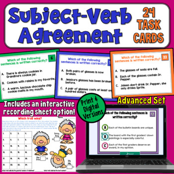 Subject-Verb Agreement Task Cards (Advanced)