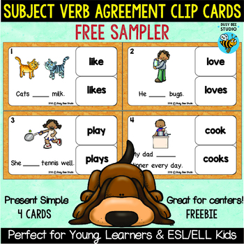 Subject Verb Agreement Task Cards Free Sampler