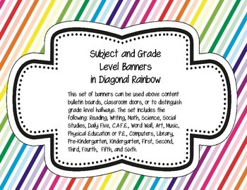 Subject and Grade Level Banners Diagonal Rainbow