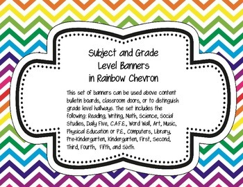 Subject and Grade Level Banners Rainbow Chevron