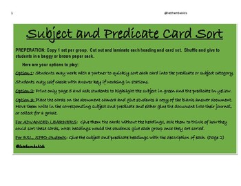 Subject and Predicate
