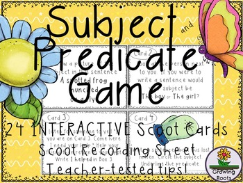 Subject and Predicate Task Cards Scoot Game