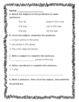 Subject and Predicate - Journeys Unit 2, Lesson 8