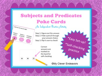 Subject and Predicate Poke Cards