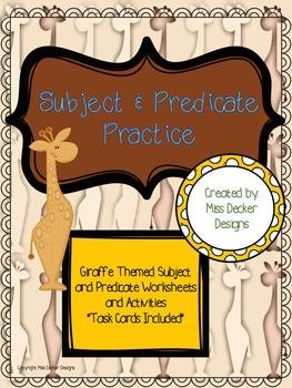 Subject and Predicate Practice - GIRAFFE THEMED
