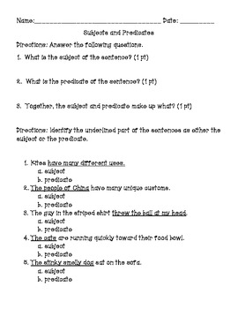 Subject and Predicate Quick Assessment