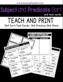 Subject and Predicate Sort and Task Cards