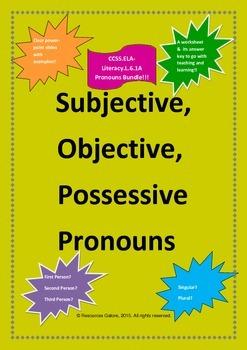 Subjective, Objective and Possessive Pronouns Bundle