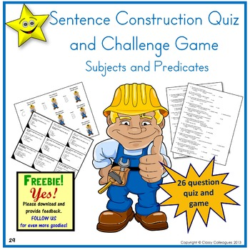 Sentence Construction Quiz and Challenge Game - Subjects a