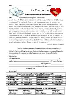 Subjunctive Practice - Le Courrier du Coeur - Intermediate French