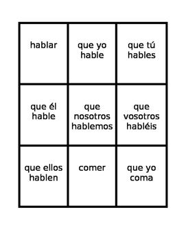 Subjuntivo (Subjunctive in Spanish) Spoons game / Uno game