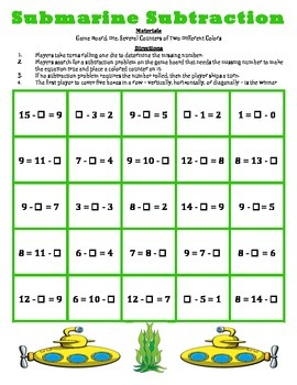 Submarine Subtraction - A 2-Player Game to Solve Subtracti