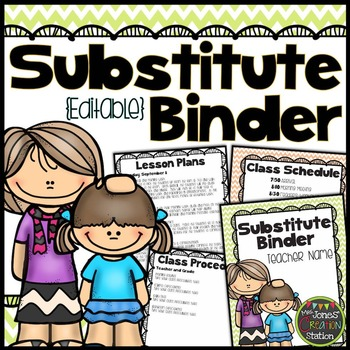Substitute Binder {Chevron Classroom Set}: Editable Cover,
