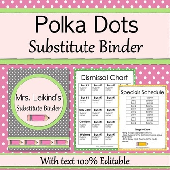 Substitute Binder  - Polka Dots