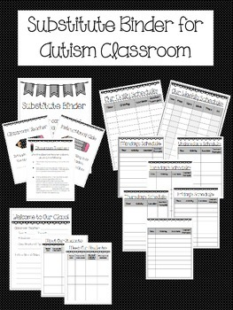 Substitute Binder for Autism & Special Education Classroom