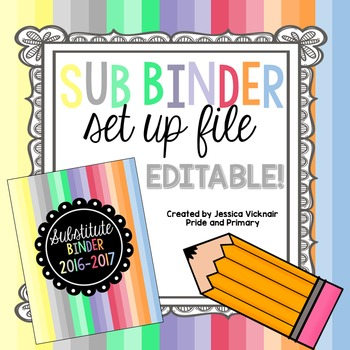 Editable Substitute Binder Set Up File {Pastel Candy Color