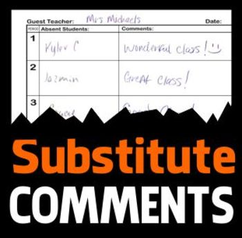 Substitute Comments Sheet