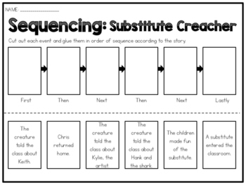 Substitute Creature - Sequencing Worksheet