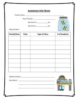 Substitute Info Sheet