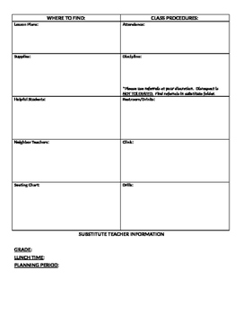 Substitute Information Form
