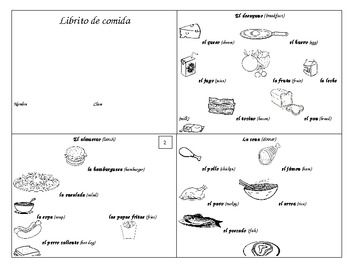 Substitute Plans (2 days)--Spanish Food Vocabulary Book &