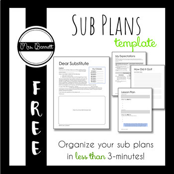 Substitute Plans (a template for secondary teachers - Editable!)