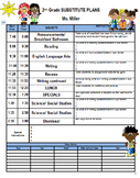 Substitute Plans template with class list, ways home, atte