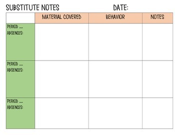 Substitute Report Sheet - Middle/High School