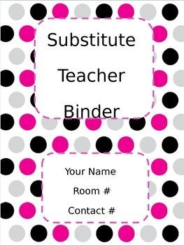 Substitute Teacher Binder Polka Dots