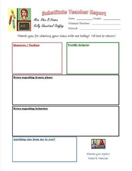 Substitute Teacher Classroom Report Form
