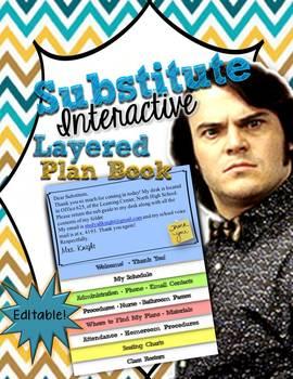 SUBSTITUTE TEACHER EDITABLE INTERACTIVE LAYERED PLAN BOOK