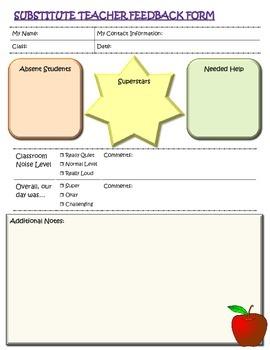 Substitute Teacher Feedback Form
