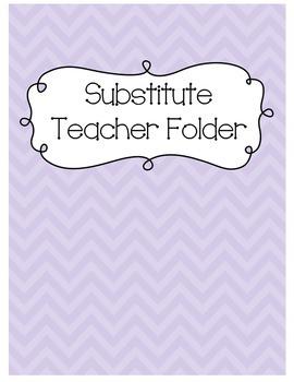 Substitute Teacher Folder {Light Purple Chevron}
