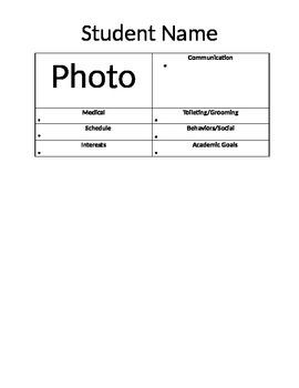 Substitute Teacher Folder-Studnet Information