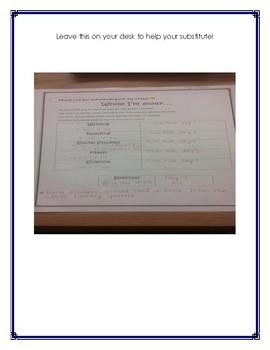Substitute Teacher Help Sheet