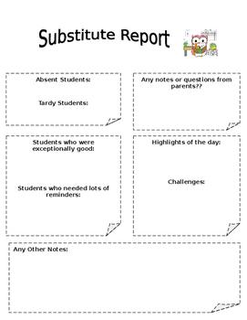 Substitute Teacher Report