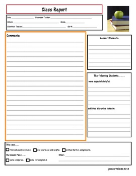 Substitute Teacher Report Form