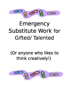 Substitute Worksheet Pack for Creative Minds